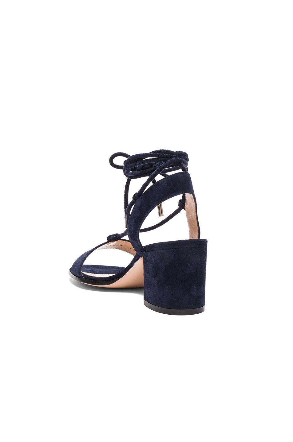 Image 3 of Gianvito Rossi Suede Lace Up Leather Sandals in Denim