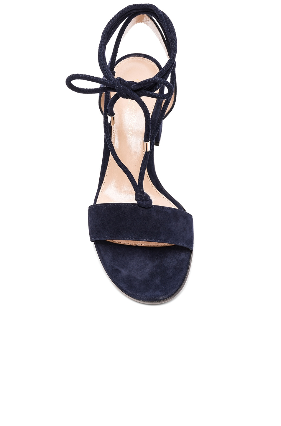 Image 4 of Gianvito Rossi Suede Lace Up Leather Sandals in Denim
