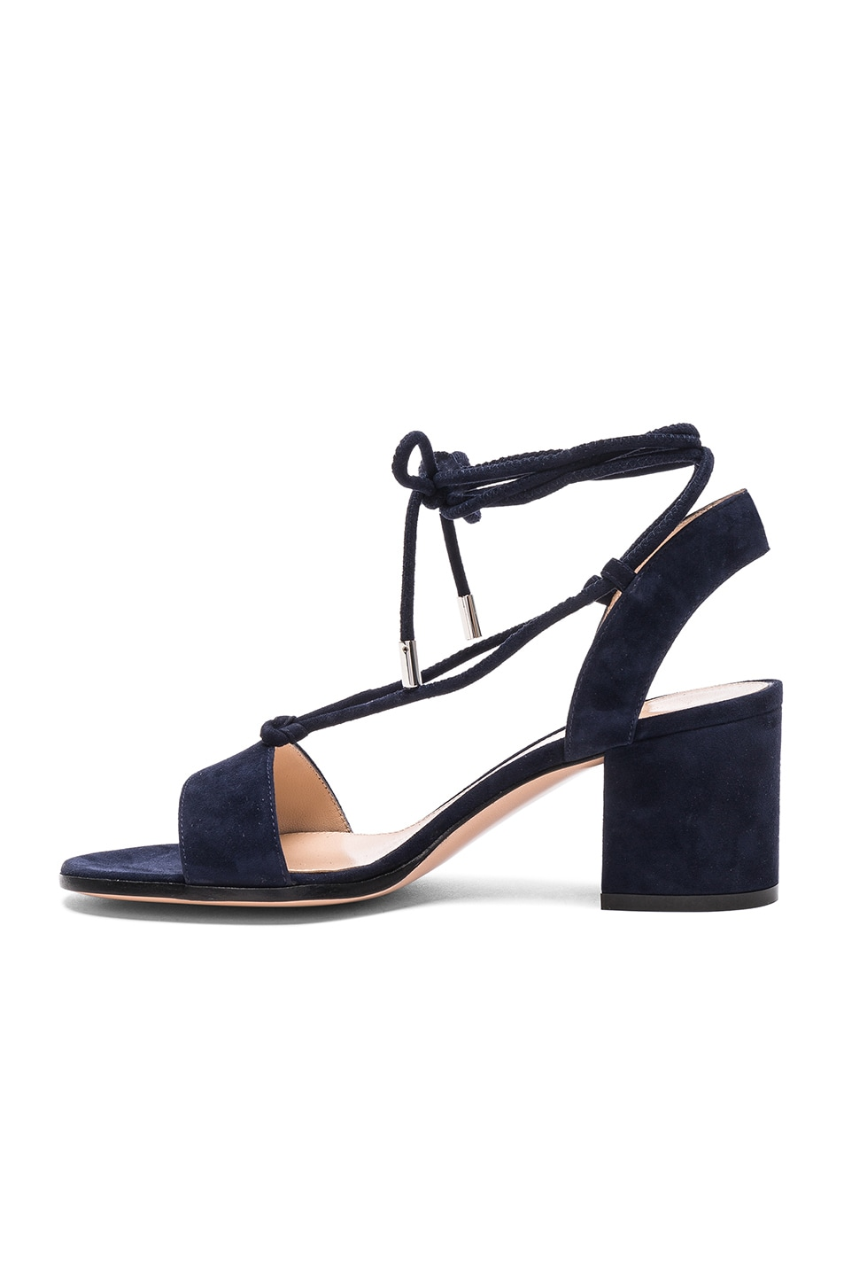 Image 5 of Gianvito Rossi Suede Lace Up Leather Sandals in Denim