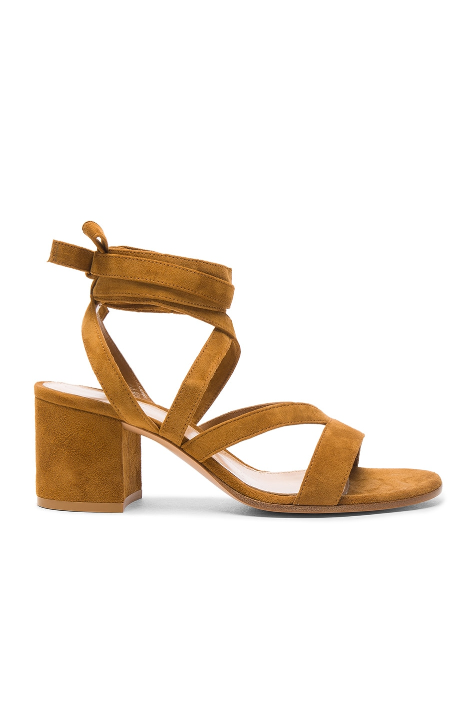 Image 1 of Gianvito Rossi Suede Janis Low Sandals in Almond
