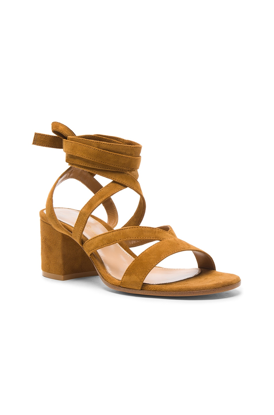 Image 2 of Gianvito Rossi Suede Janis Low Sandals in Almond