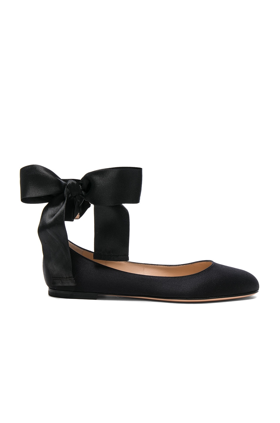 Image 1 of Gianvito Rossi Satin Ankle Tie Flats in Black