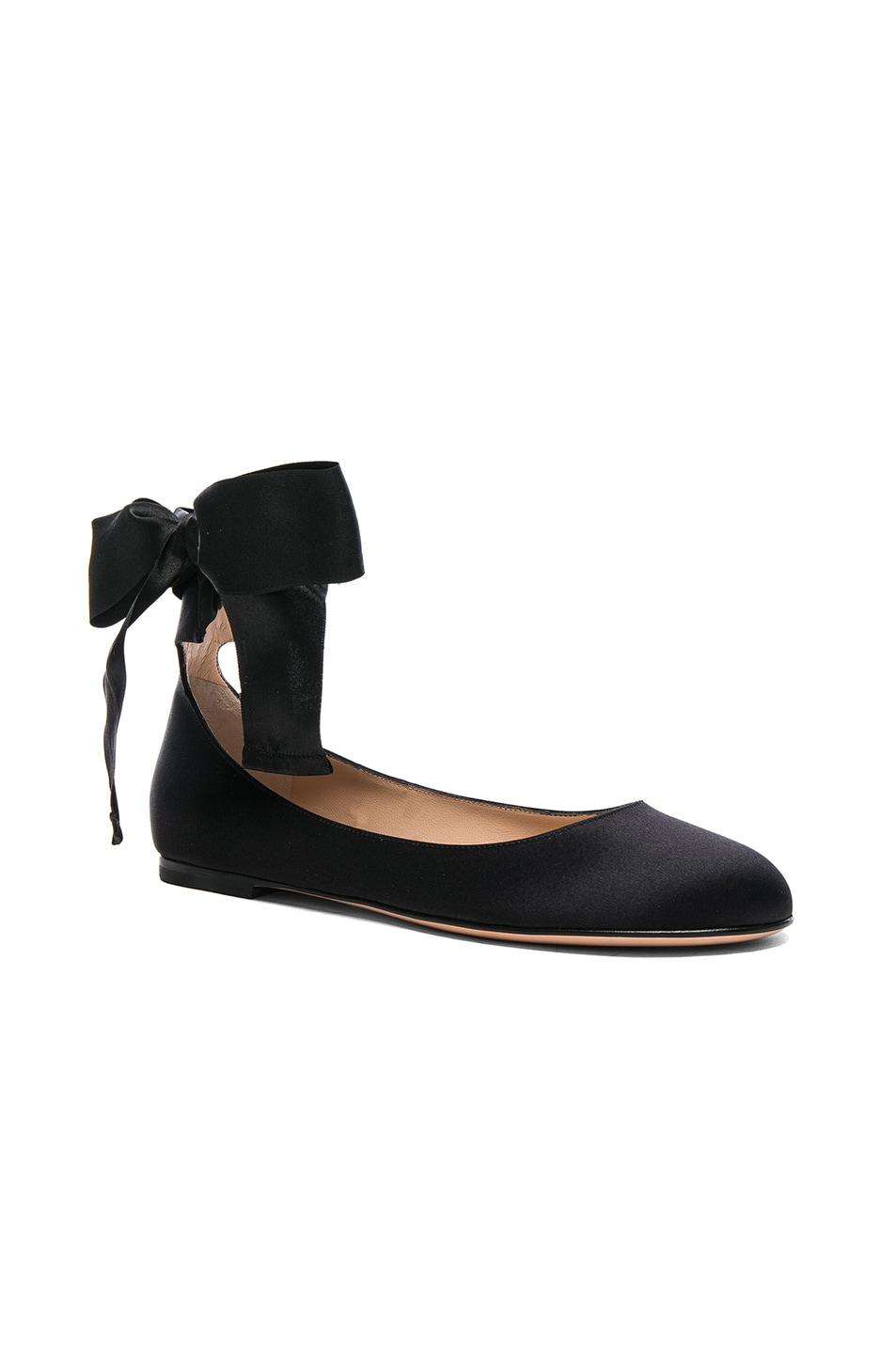 Image 2 of Gianvito Rossi Satin Ankle Tie Flats in Black