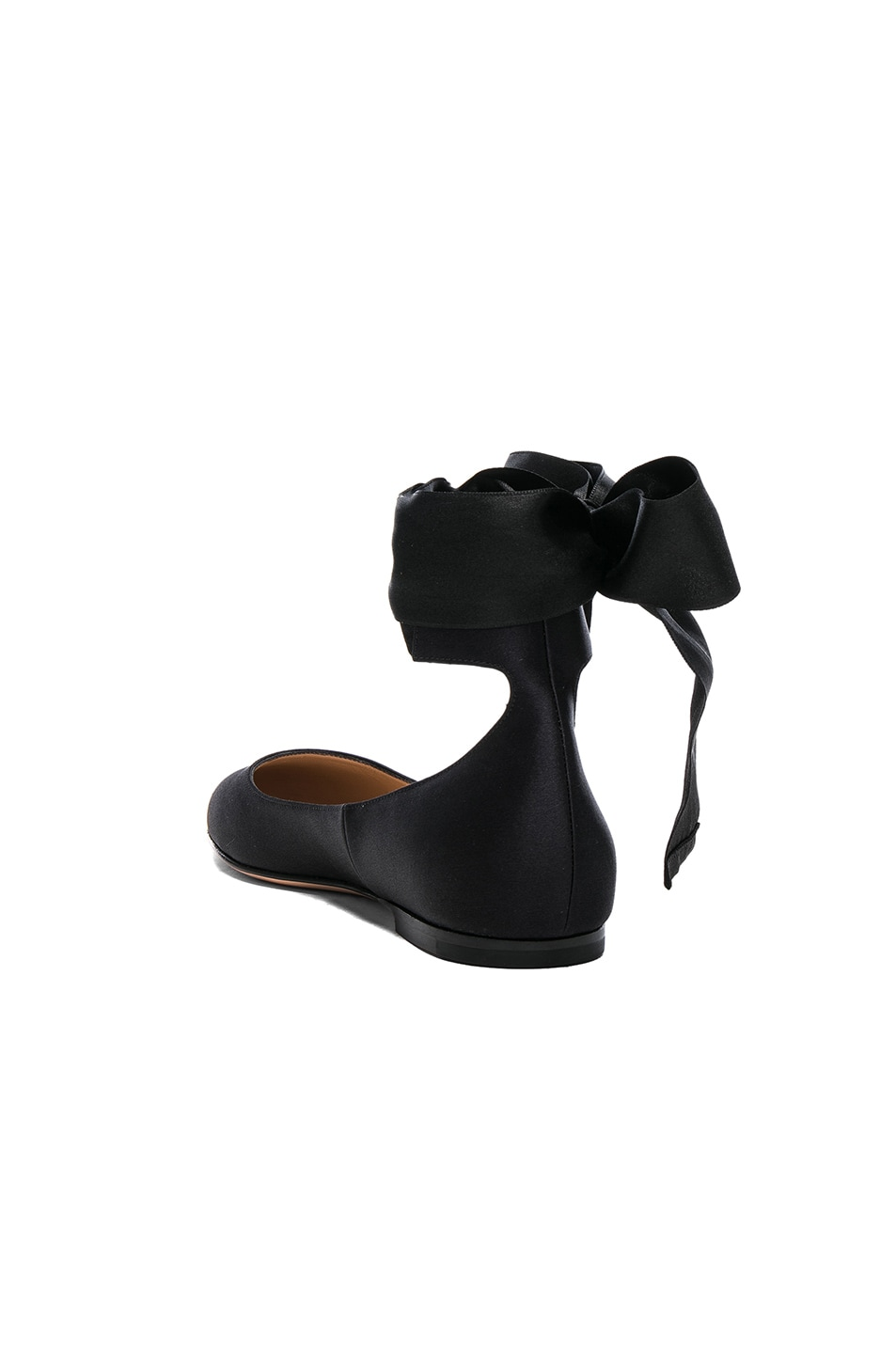 Image 3 of Gianvito Rossi Satin Ankle Tie Flats in Black