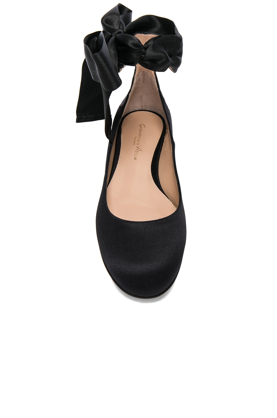 Image 4 of Gianvito Rossi Satin Ankle Tie Flats in Black