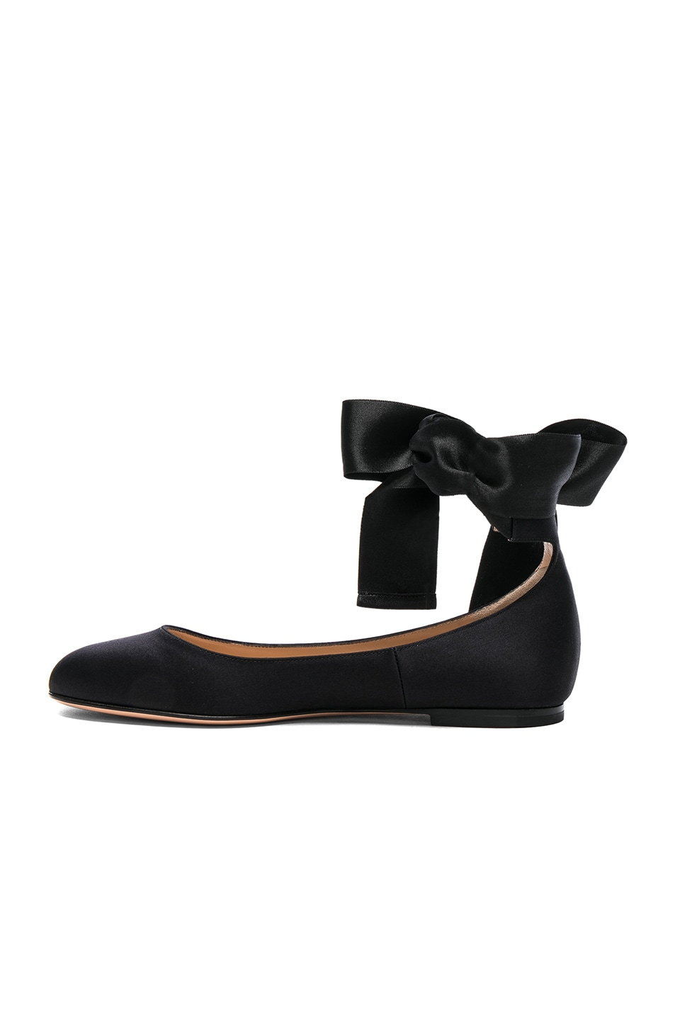 Image 5 of Gianvito Rossi Satin Ankle Tie Flats in Black