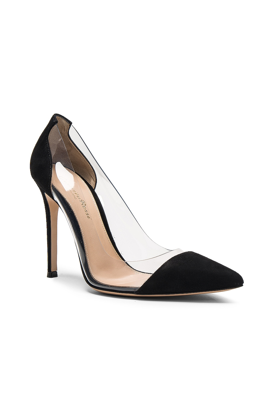 Image 2 of Gianvito Rossi Suede & Plexy Pumps in Black