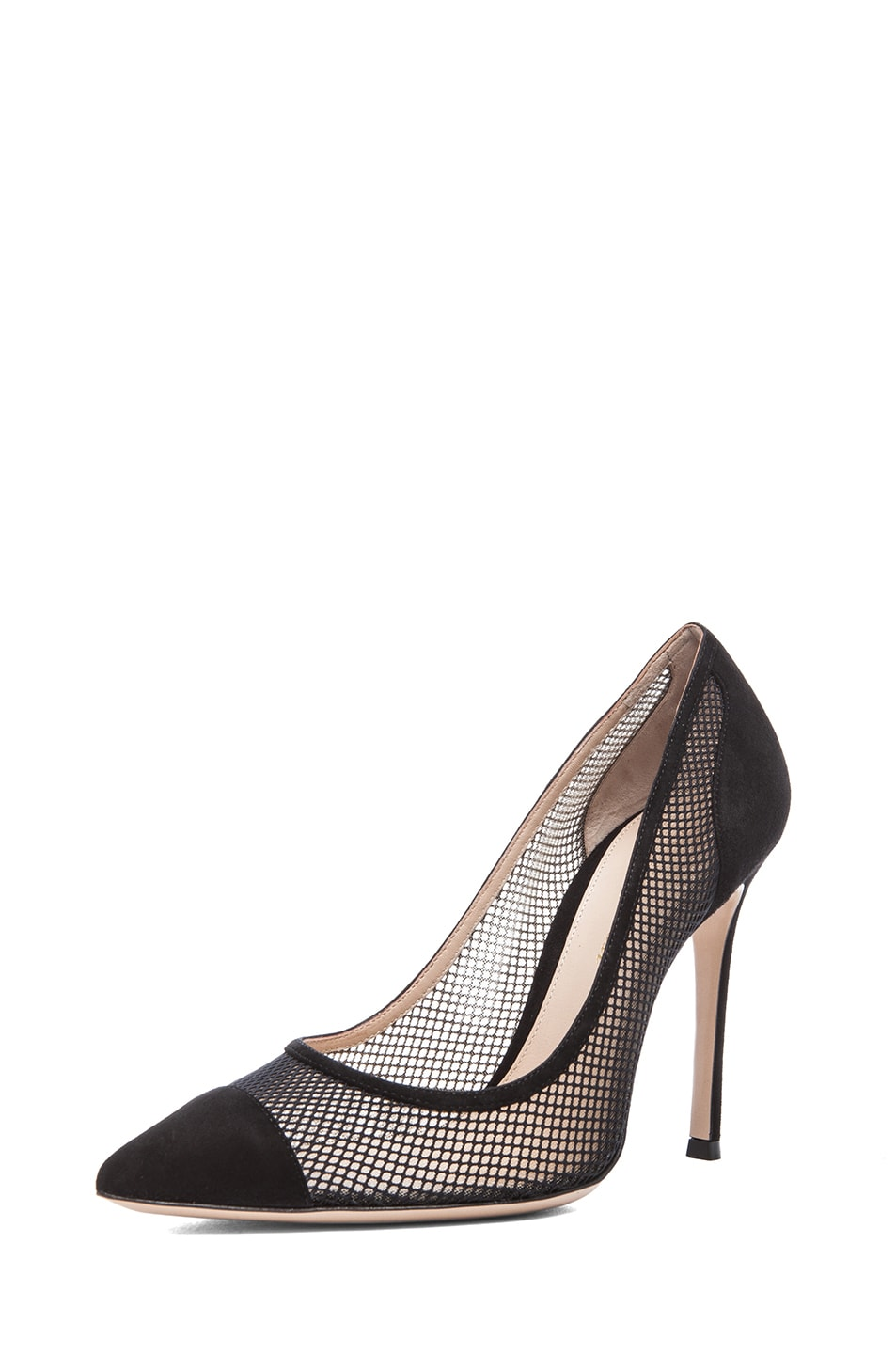 Image 2 of Gianvito Rossi Suede Pumps in Nero & Nude