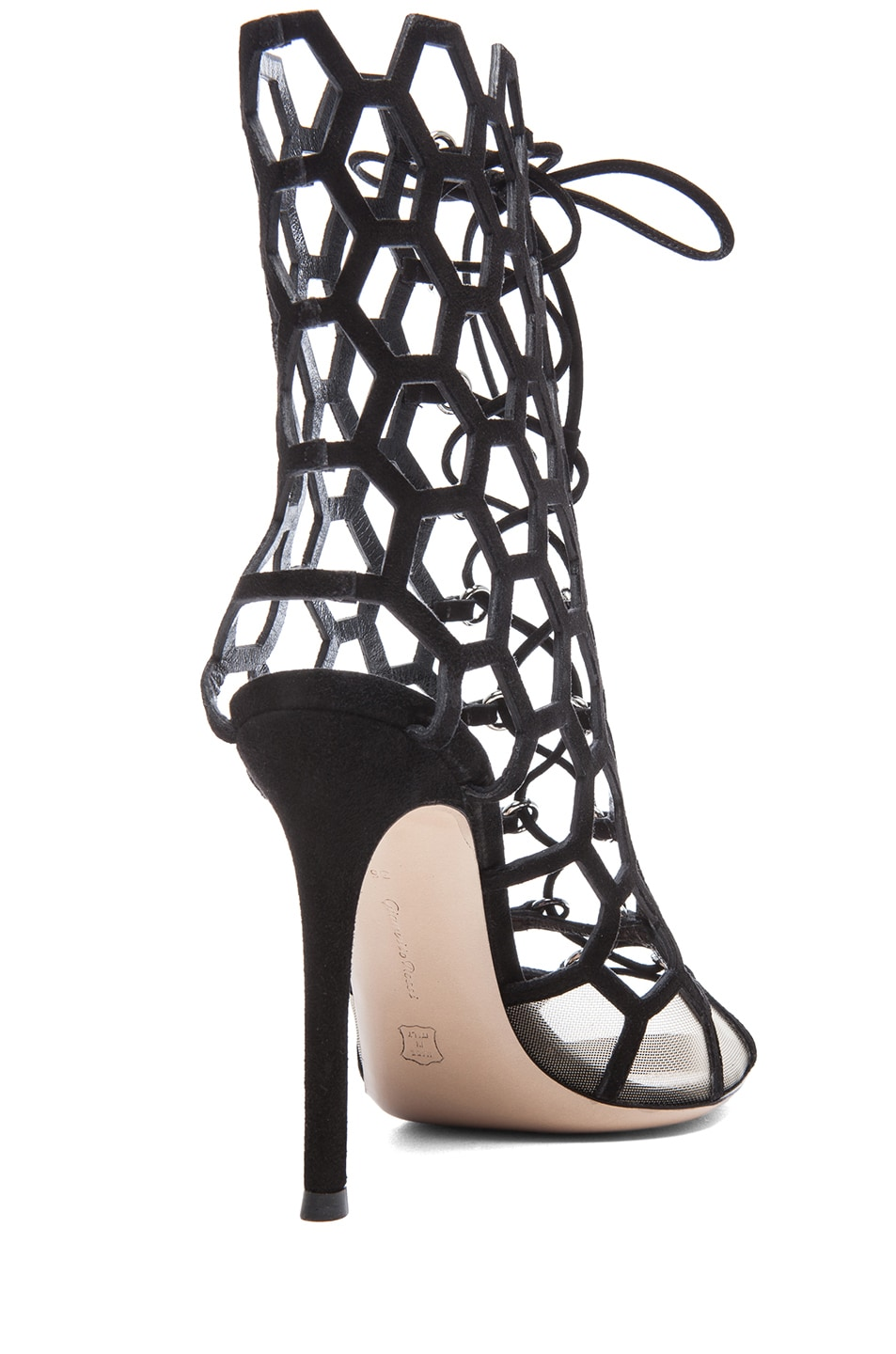 Image 3 of Gianvito Rossi Suede Lace Up Booties in Nero & Nude