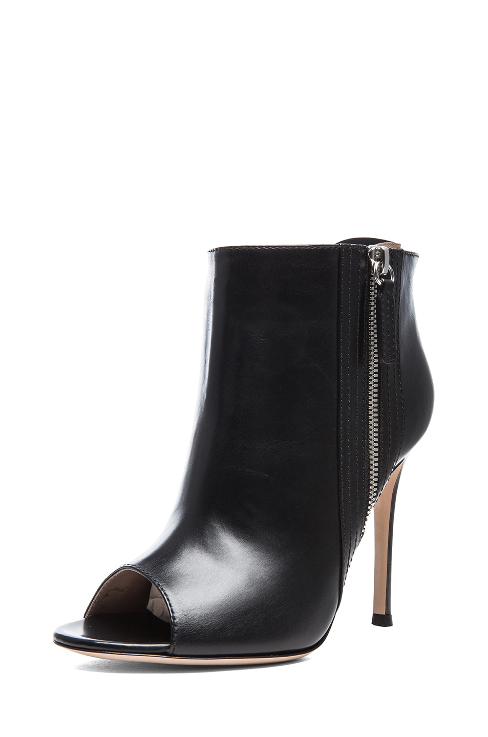 Image 2 of Gianvito Rossi Open Toe Leather Booties in Black