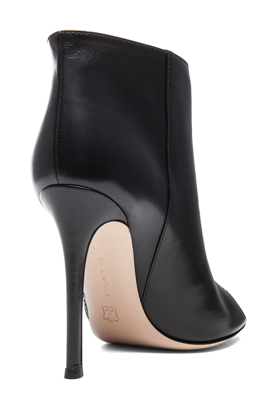 Image 3 of Gianvito Rossi Open Toe Leather Booties in Black