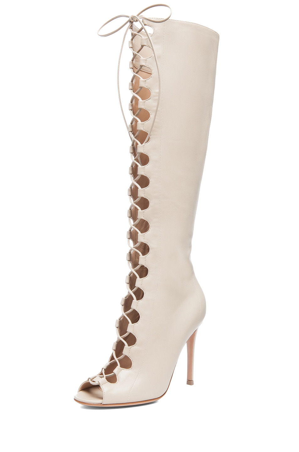 Image 2 of Gianvito Rossi Nappa Leather Lace Up Boots in Corda
