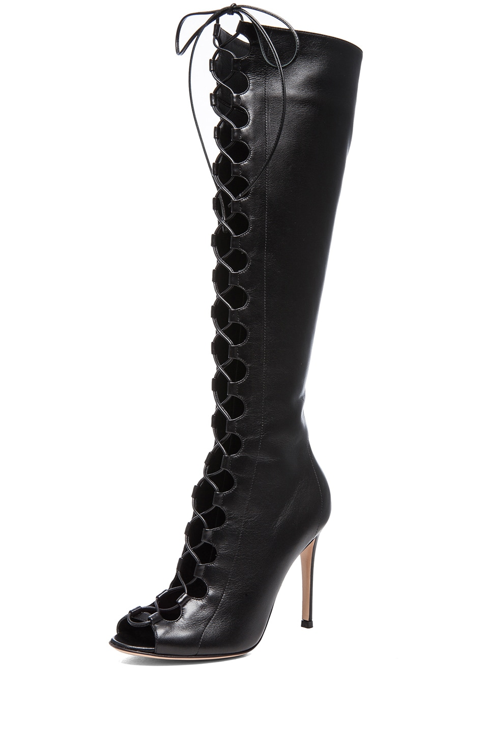 Image 2 of Gianvito Rossi Nappa Leather Lace Up Boots in Nero