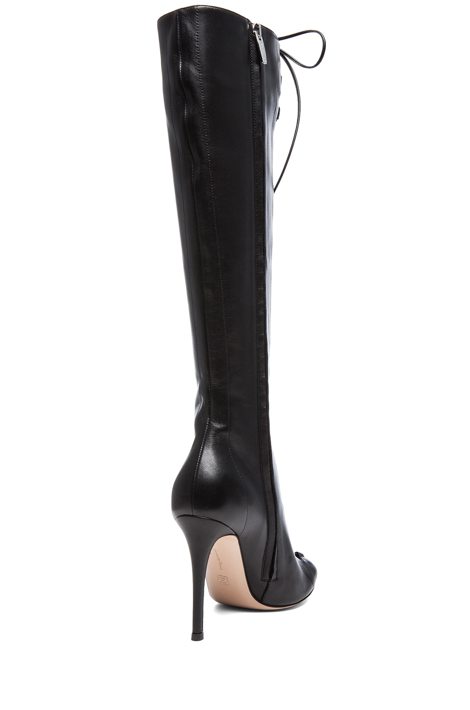 Image 3 of Gianvito Rossi Nappa Leather Lace Up Boots in Nero