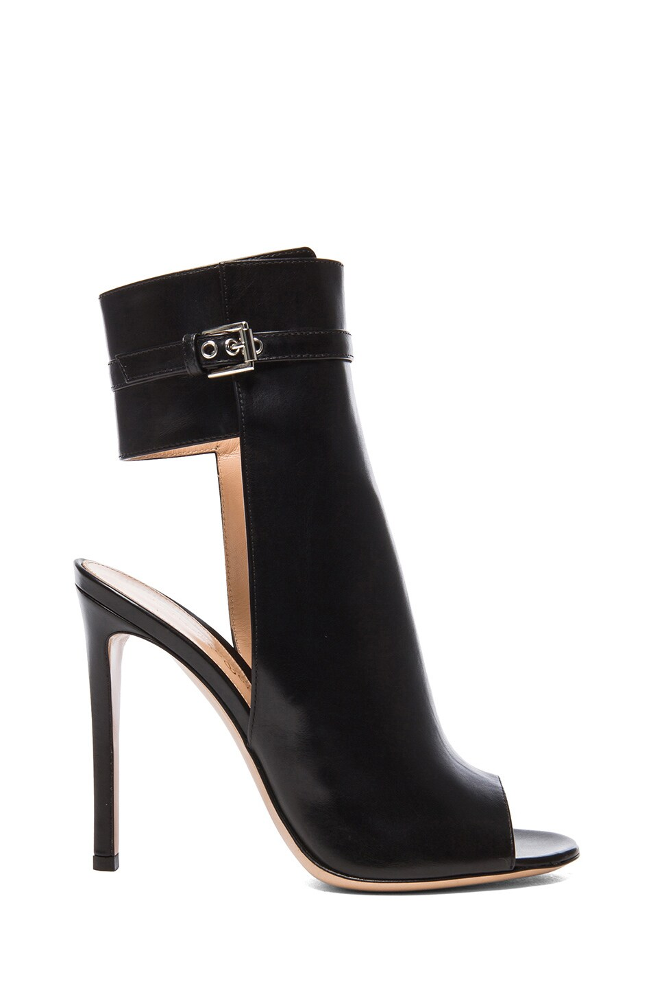 Image 1 of Gianvito Rossi Ankle Strap Leather Booties in Black