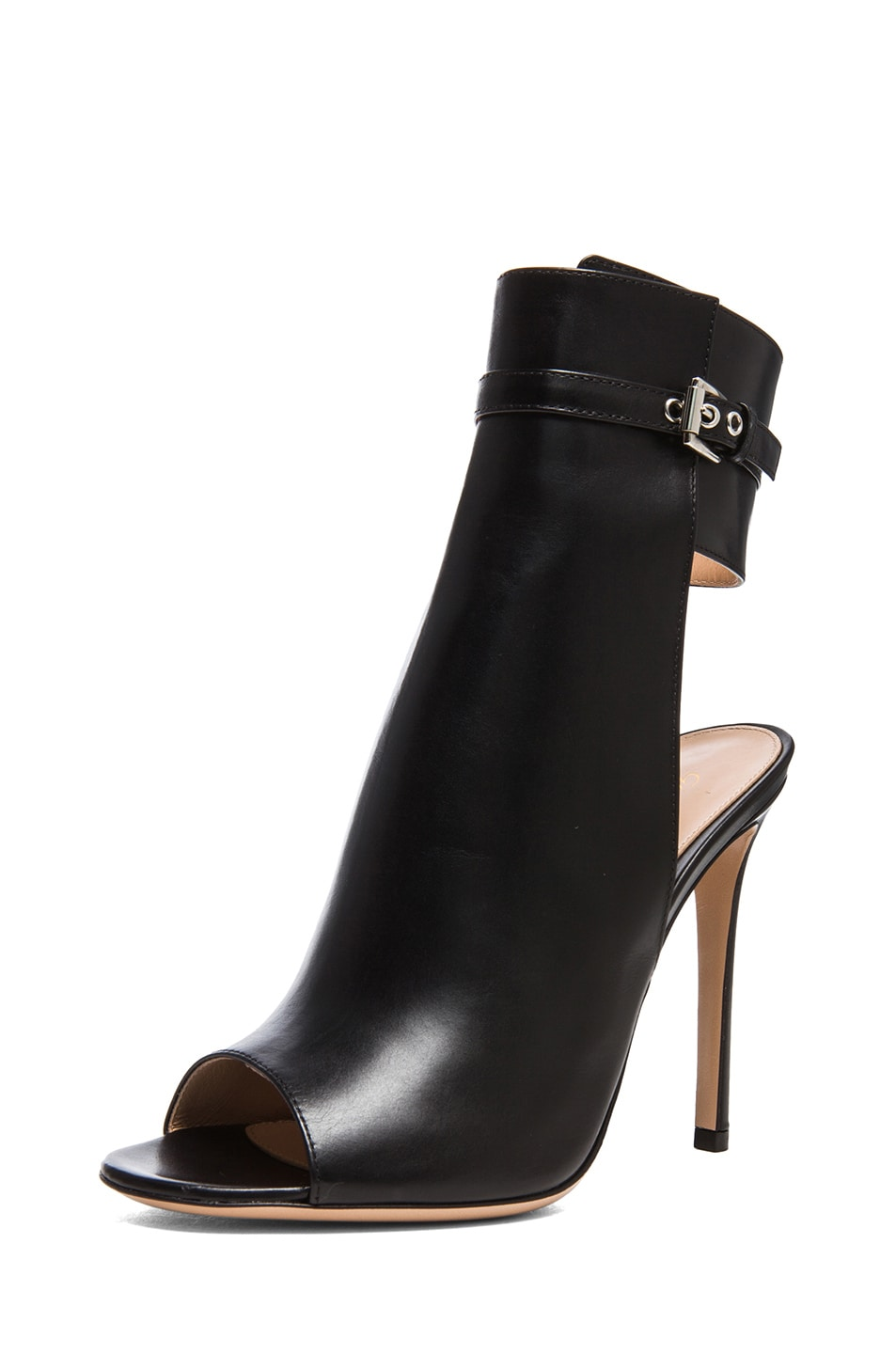 Image 2 of Gianvito Rossi Ankle Strap Leather Booties in Black