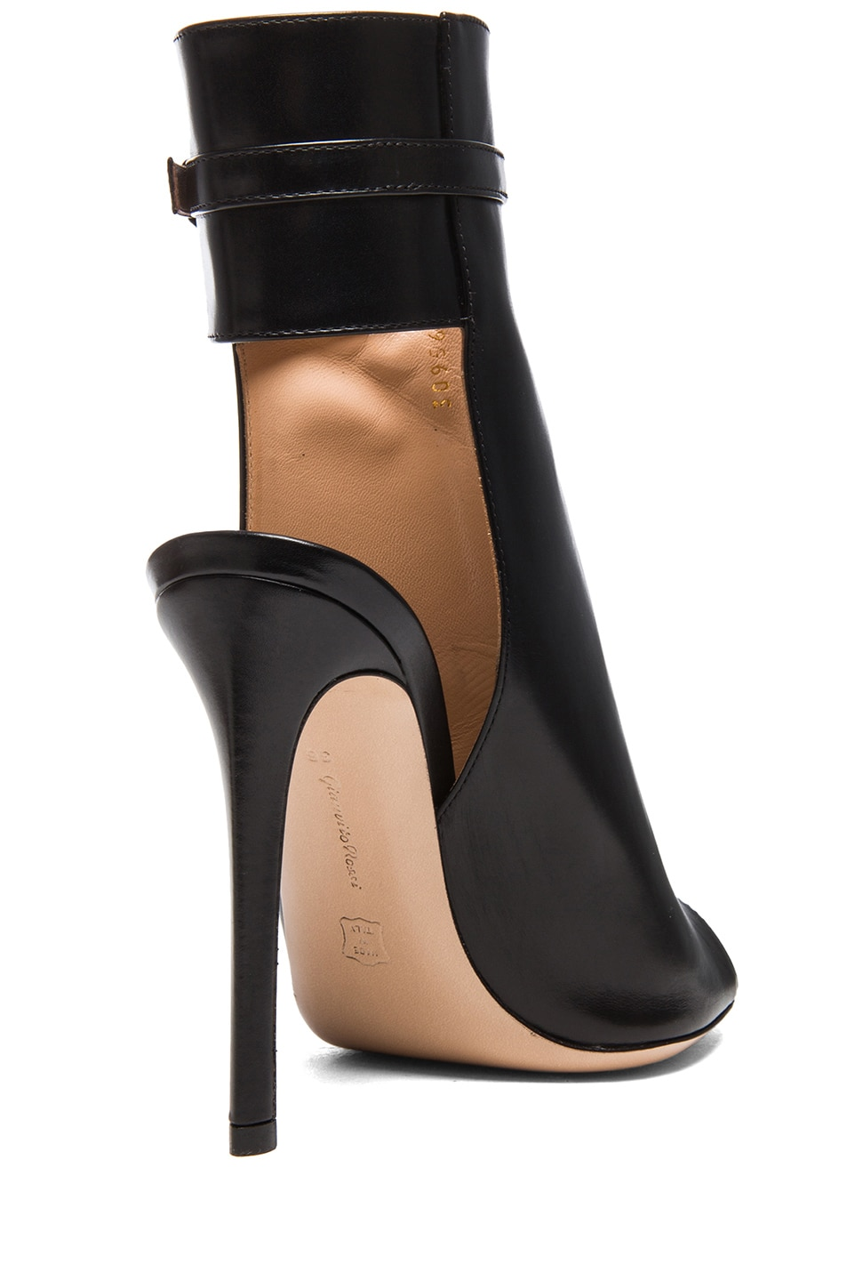 Image 3 of Gianvito Rossi Ankle Strap Leather Booties in Black