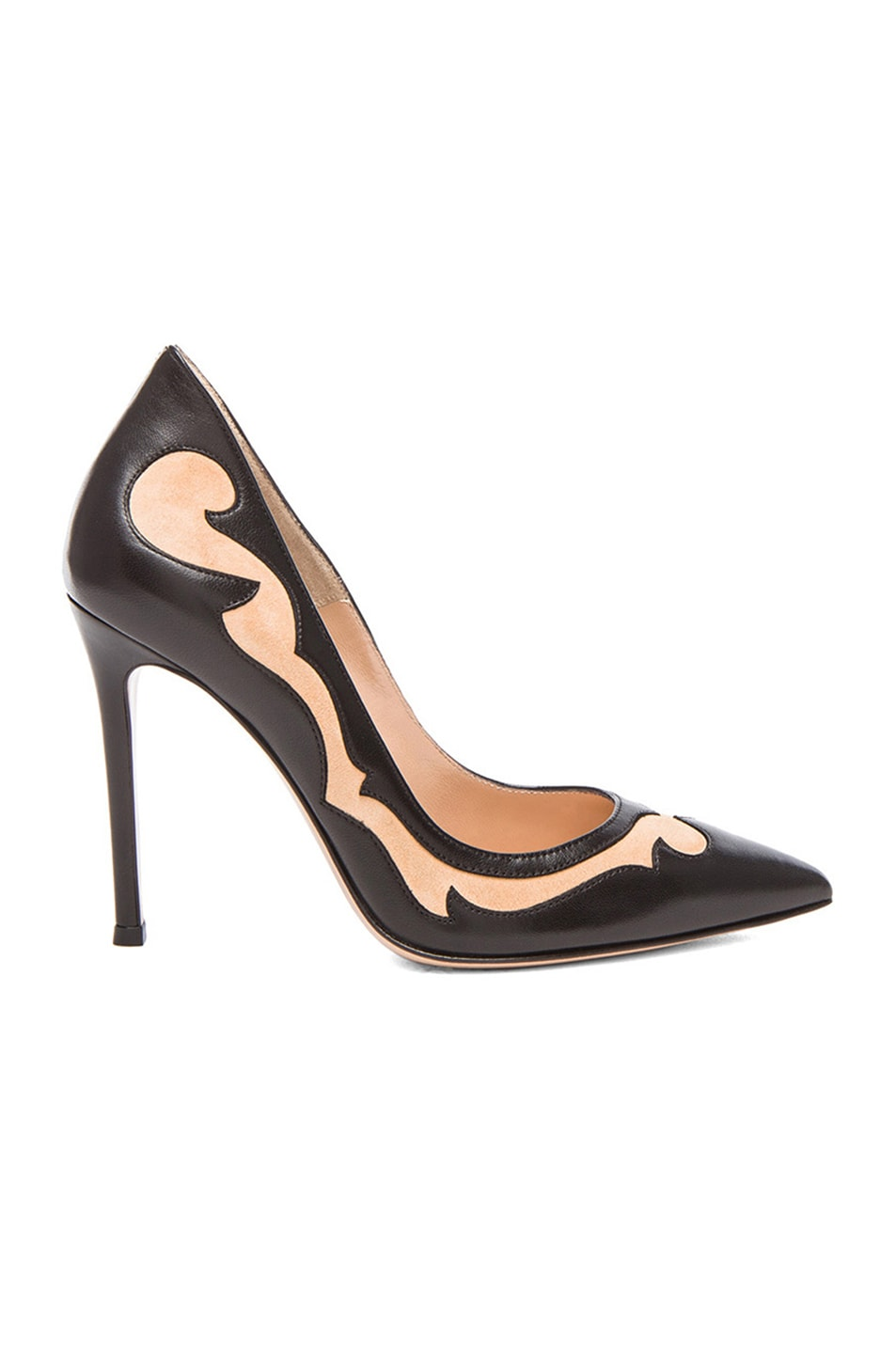 Image 1 of Gianvito Rossi Two Toned Western Leather Pumps in Nero & Powder