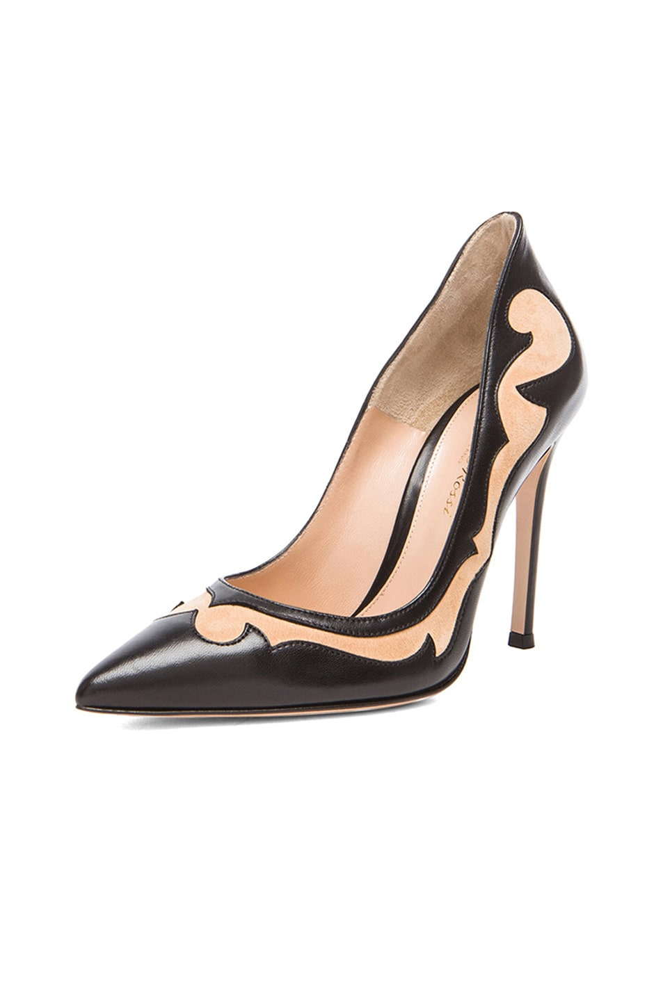 Image 2 of Gianvito Rossi Two Toned Western Leather Pumps in Nero & Powder