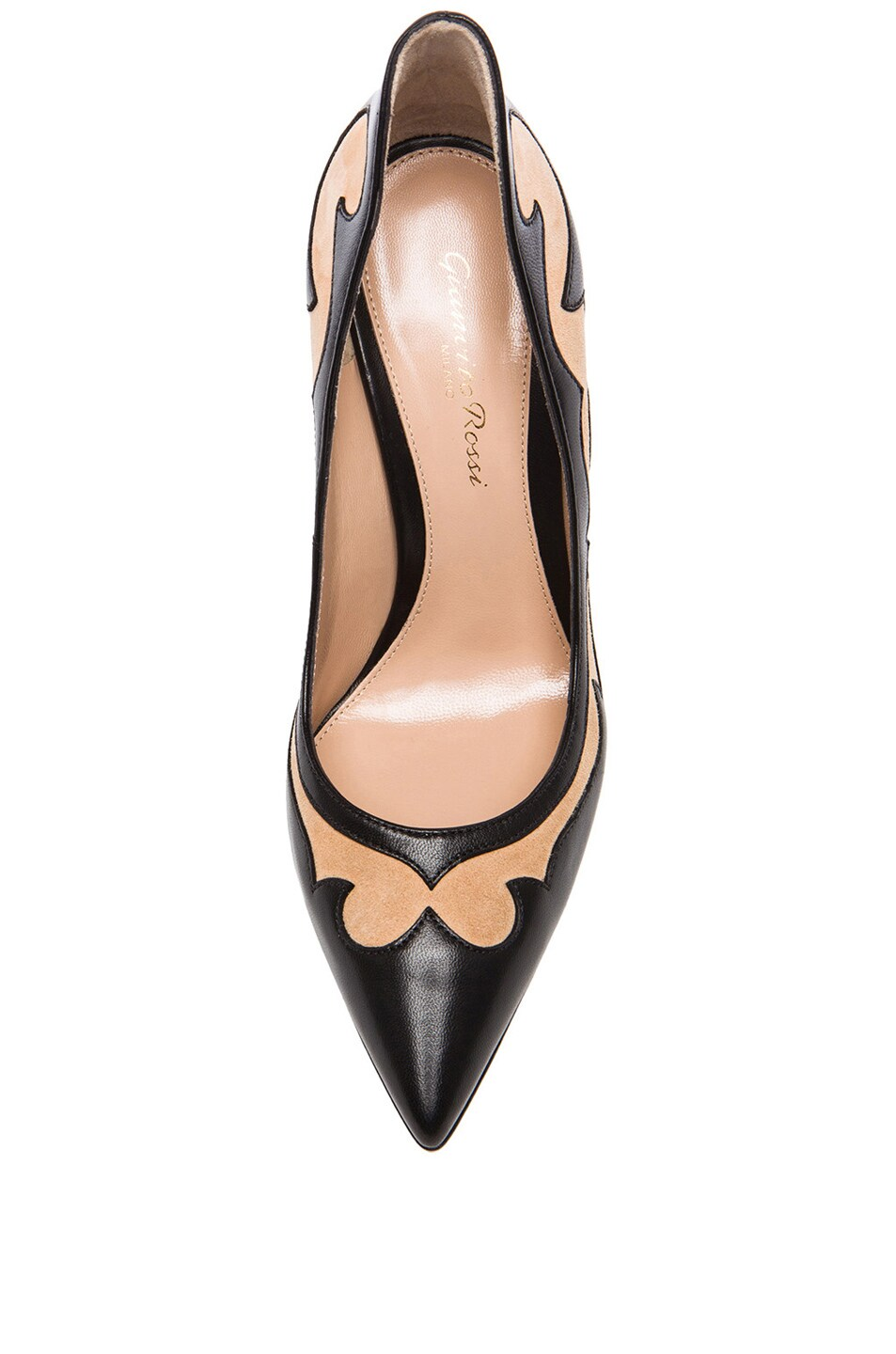 Image 4 of Gianvito Rossi Two Toned Western Leather Pumps in Nero & Powder