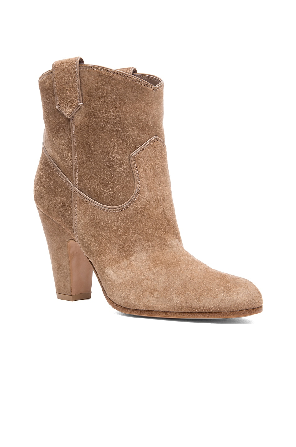 Image 2 of Gianvito Rossi Western Suede Booties in Suede Bisque