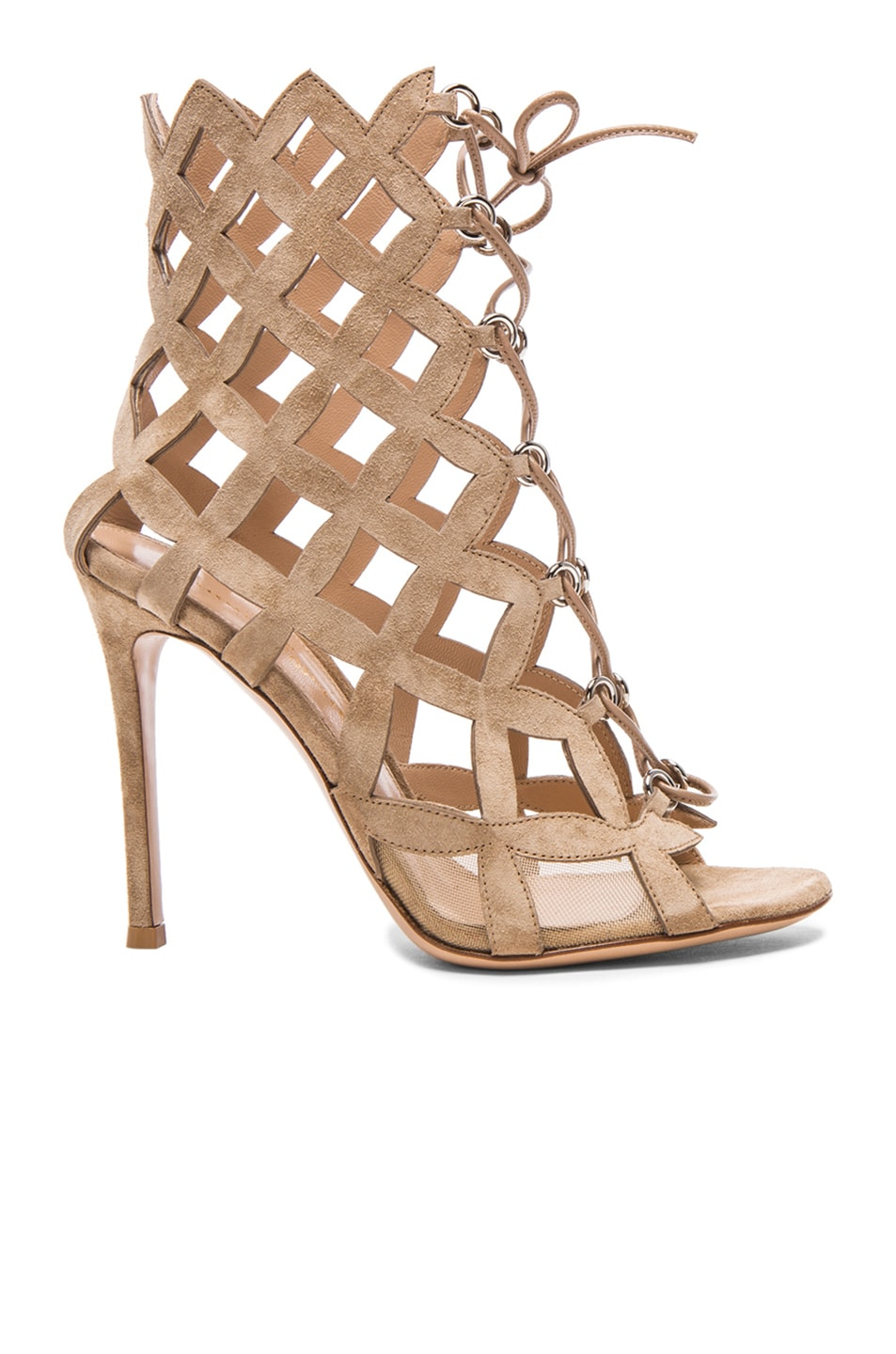 Image 1 of Gianvito Rossi Lace Up Cut Out Heels in Suede Bisque