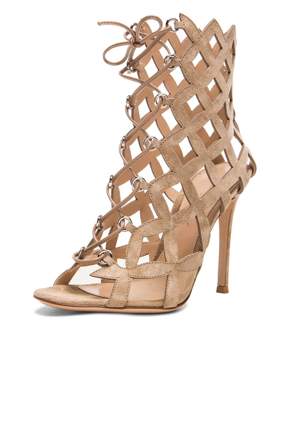Image 2 of Gianvito Rossi Lace Up Cut Out Heels in Suede Bisque