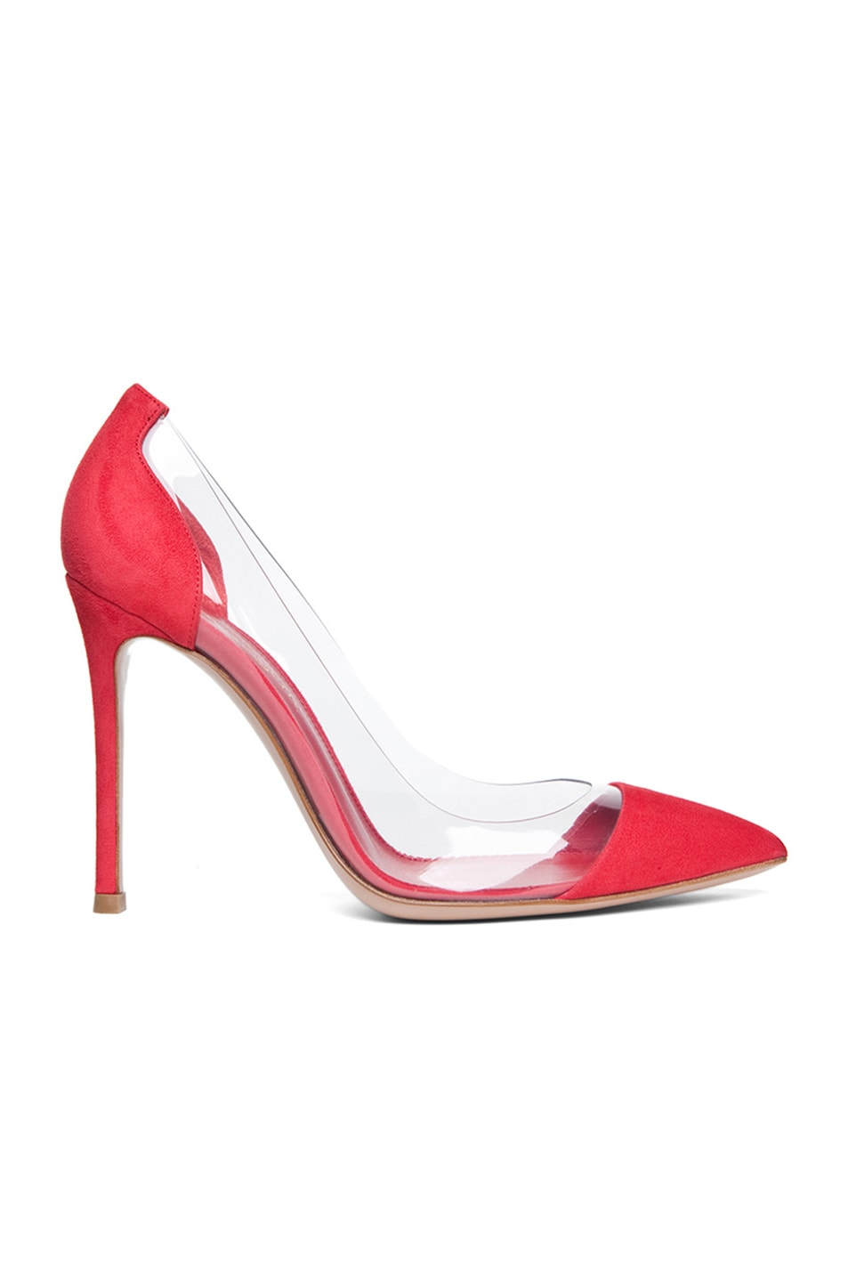 Image 1 of Gianvito Rossi Suede Plexi Pumps in Red