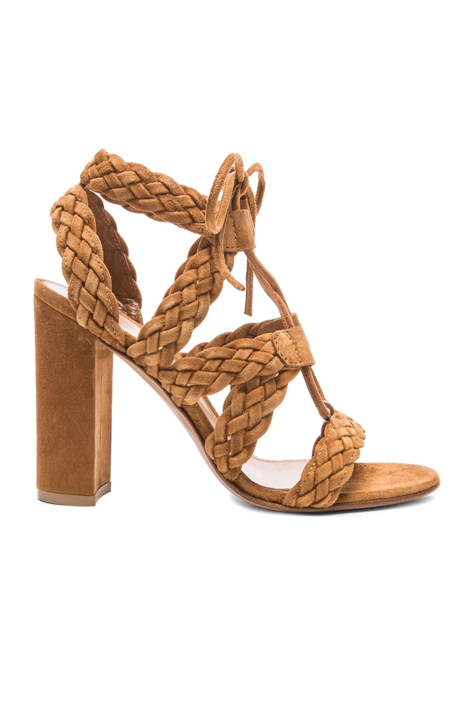 GIANVITO ROSSI Suede Braided Lace-Up Sandal in Almond