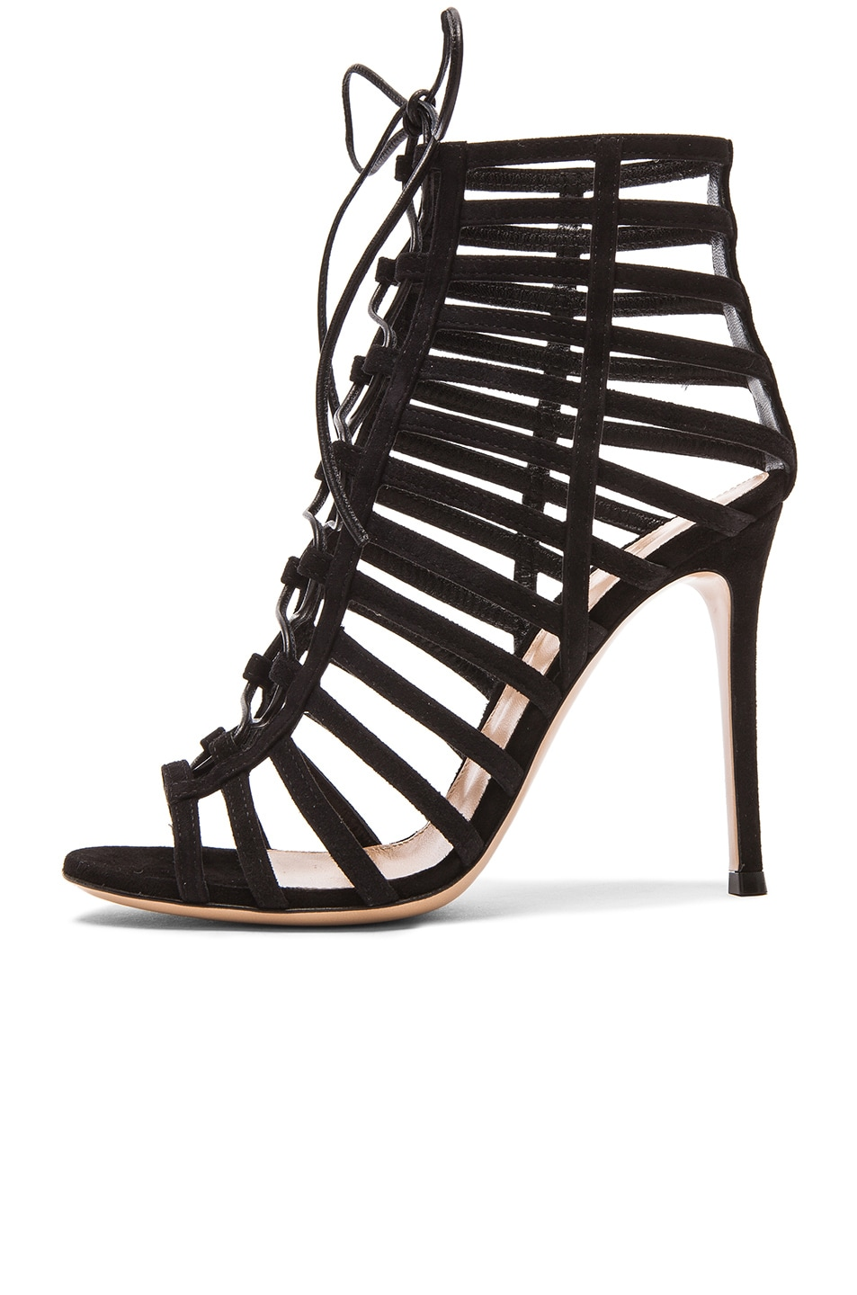 Image 5 of Gianvito Rossi Lace Up Suede Heels in Black