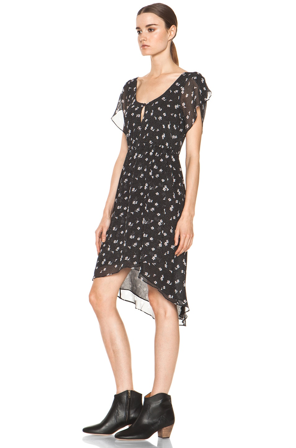 Image 2 of Girl. by Band of Outsiders Emerie Silk Dress in Ditsy Black