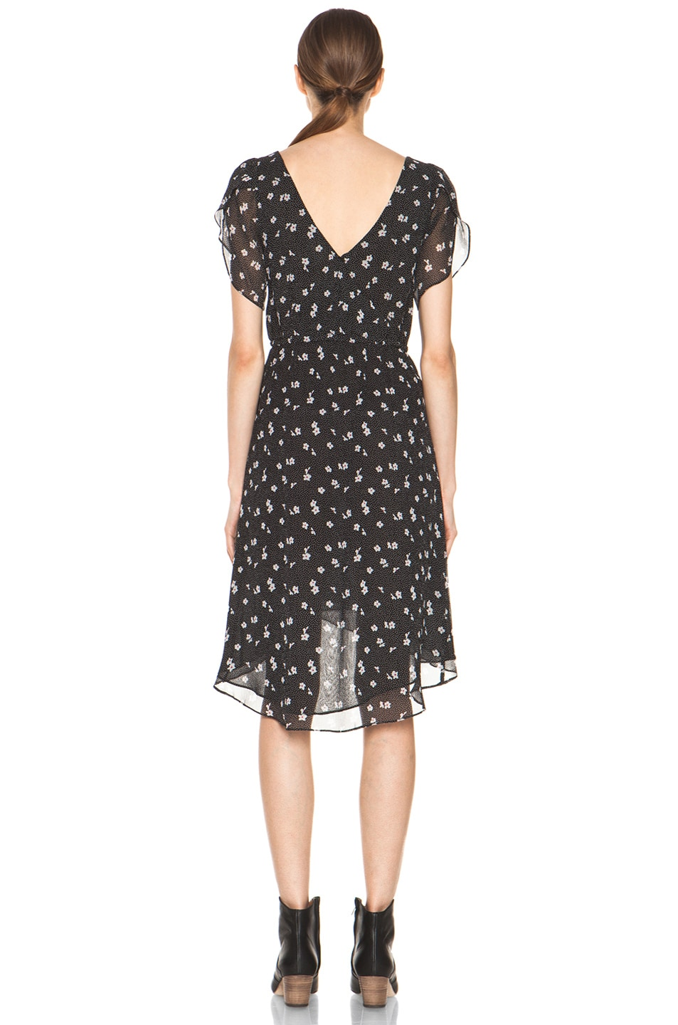 Image 4 of Girl. by Band of Outsiders Emerie Silk Dress in Ditsy Black