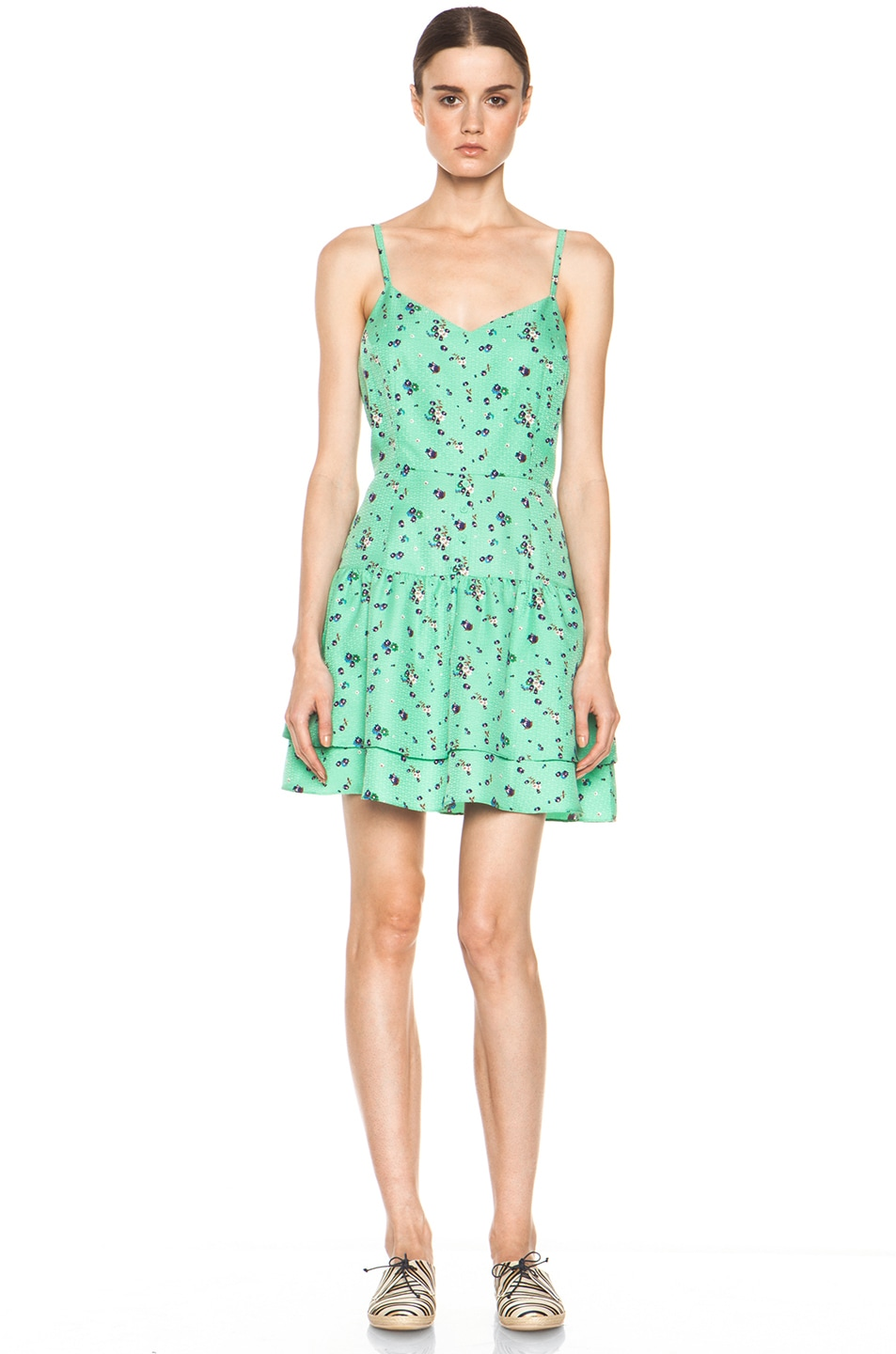 Image 1 of Girl. by Band of Outsiders Elle Silk Dress in Sea Green