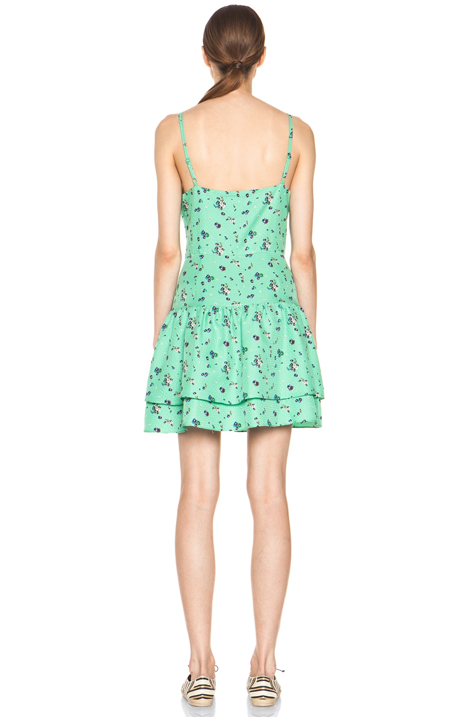 Image 4 of Girl. by Band of Outsiders Elle Silk Dress in Sea Green