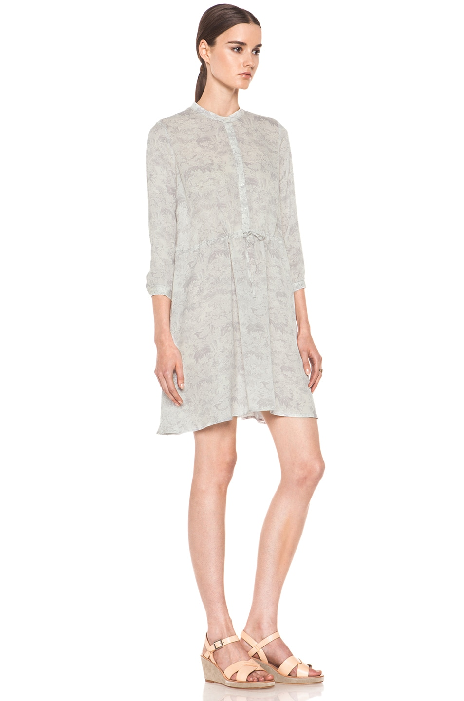 Image 3 of Girl. by Band of Outsiders Japanese Toile Silk Print Dress in Lavandar