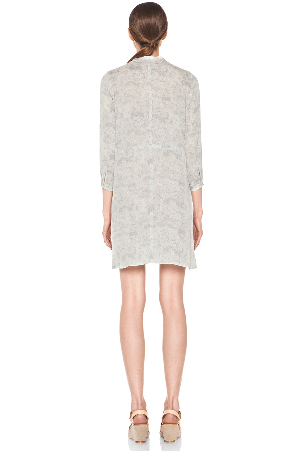 Image 4 of Girl. by Band of Outsiders Japanese Toile Silk Print Dress in Lavandar