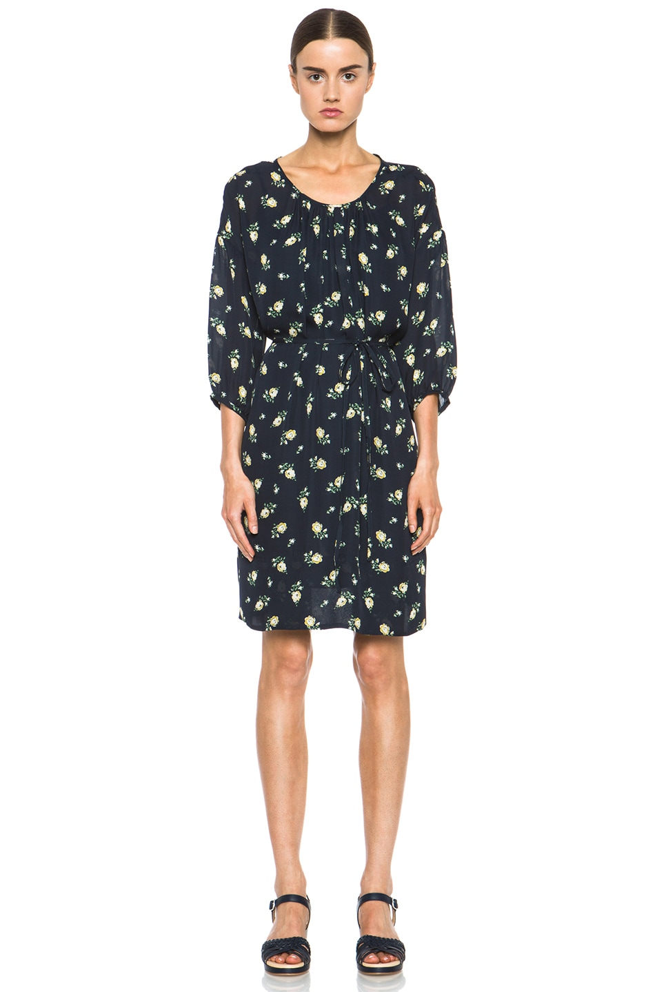 Image 1 of Girl. by Band of Outsiders Falling Rose Aline Silk Dress in Navy