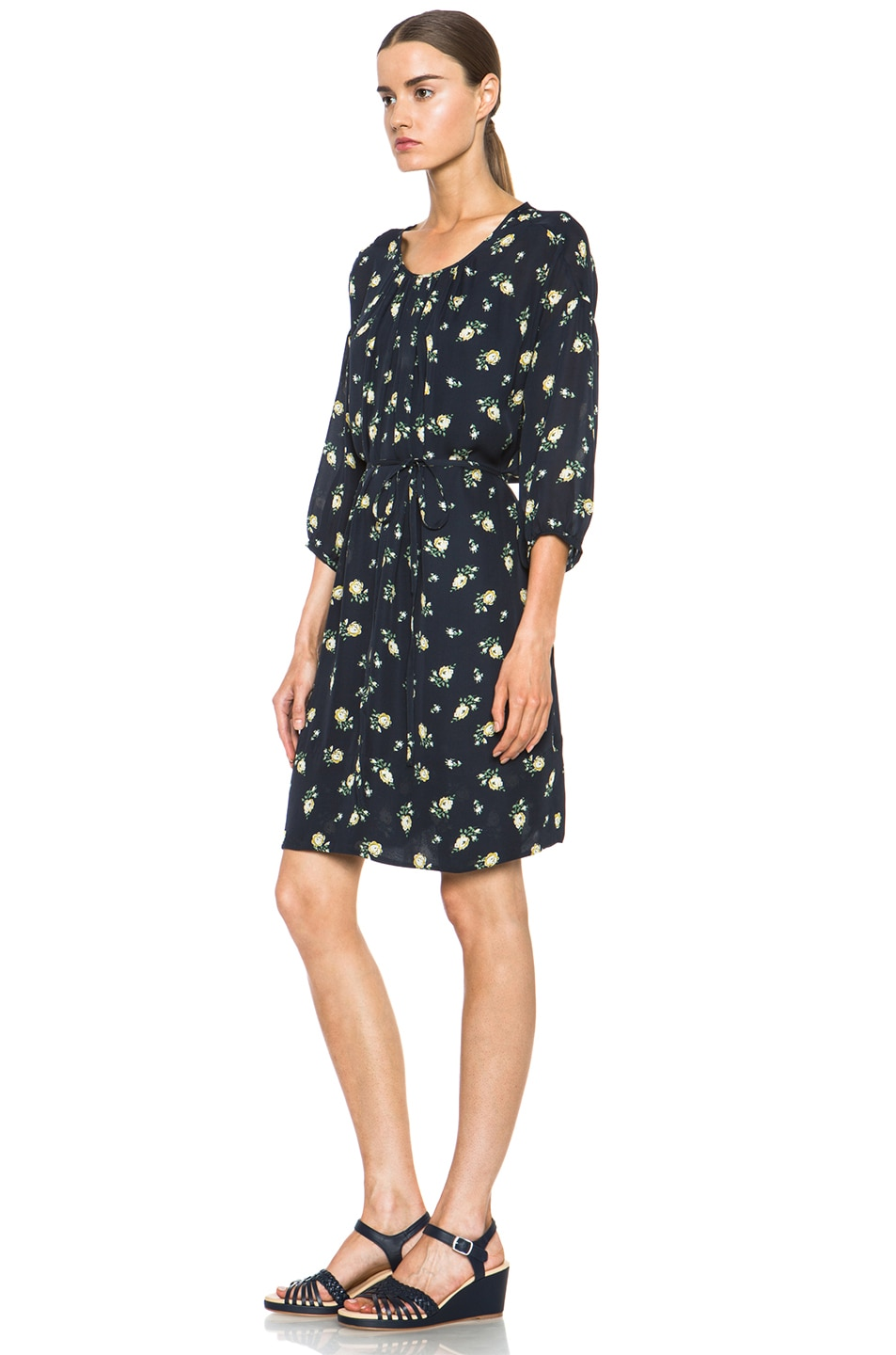 Image 2 of Girl. by Band of Outsiders Falling Rose Aline Silk Dress in Navy