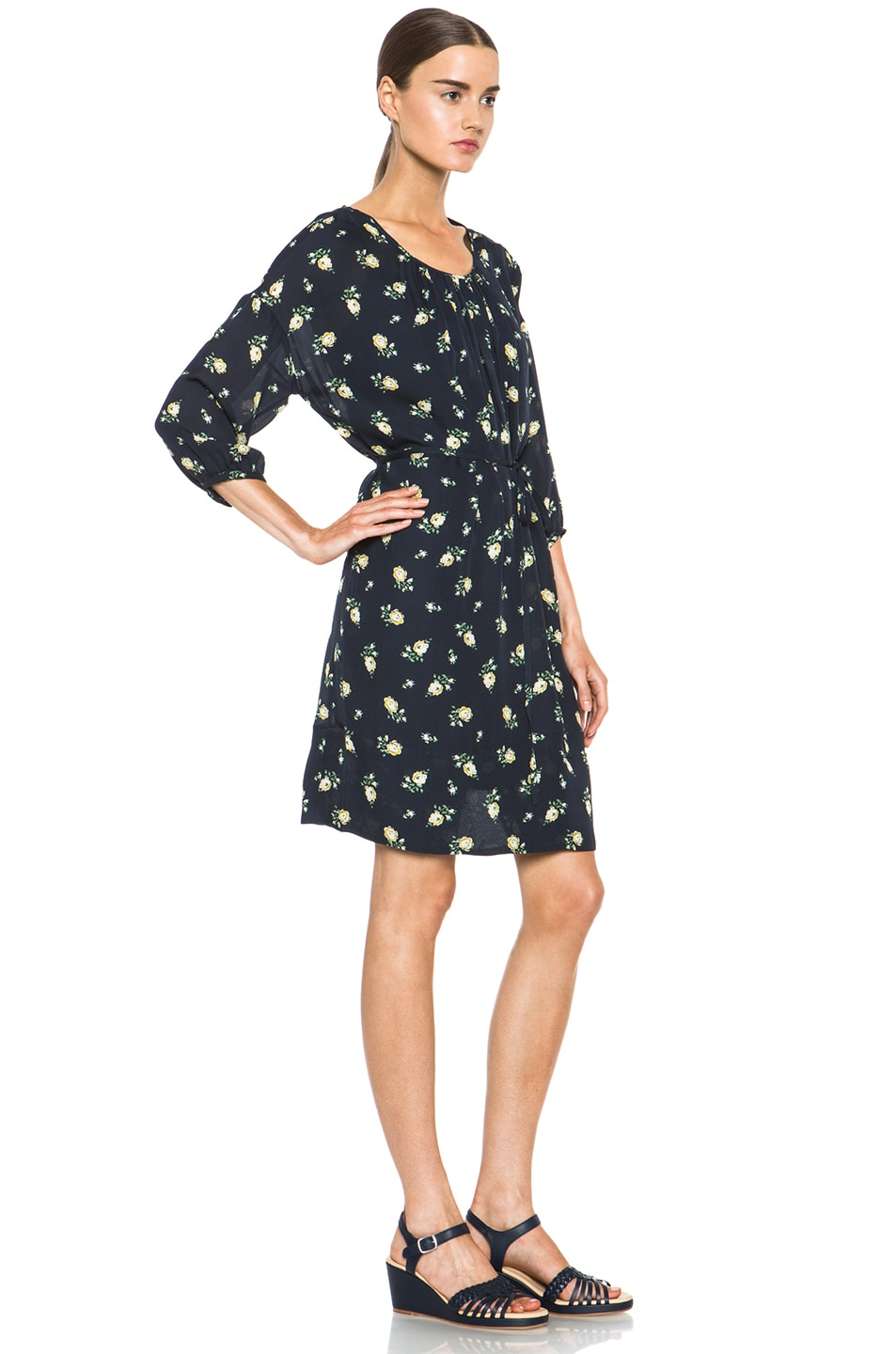 Image 3 of Girl. by Band of Outsiders Falling Rose Aline Silk Dress in Navy