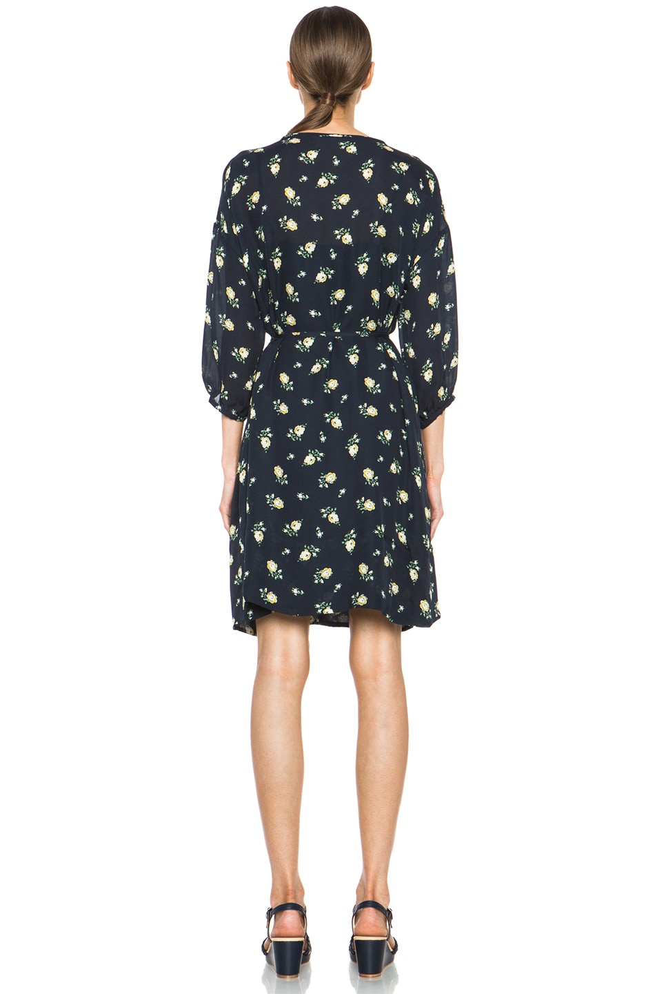 Image 4 of Girl. by Band of Outsiders Falling Rose Aline Silk Dress in Navy