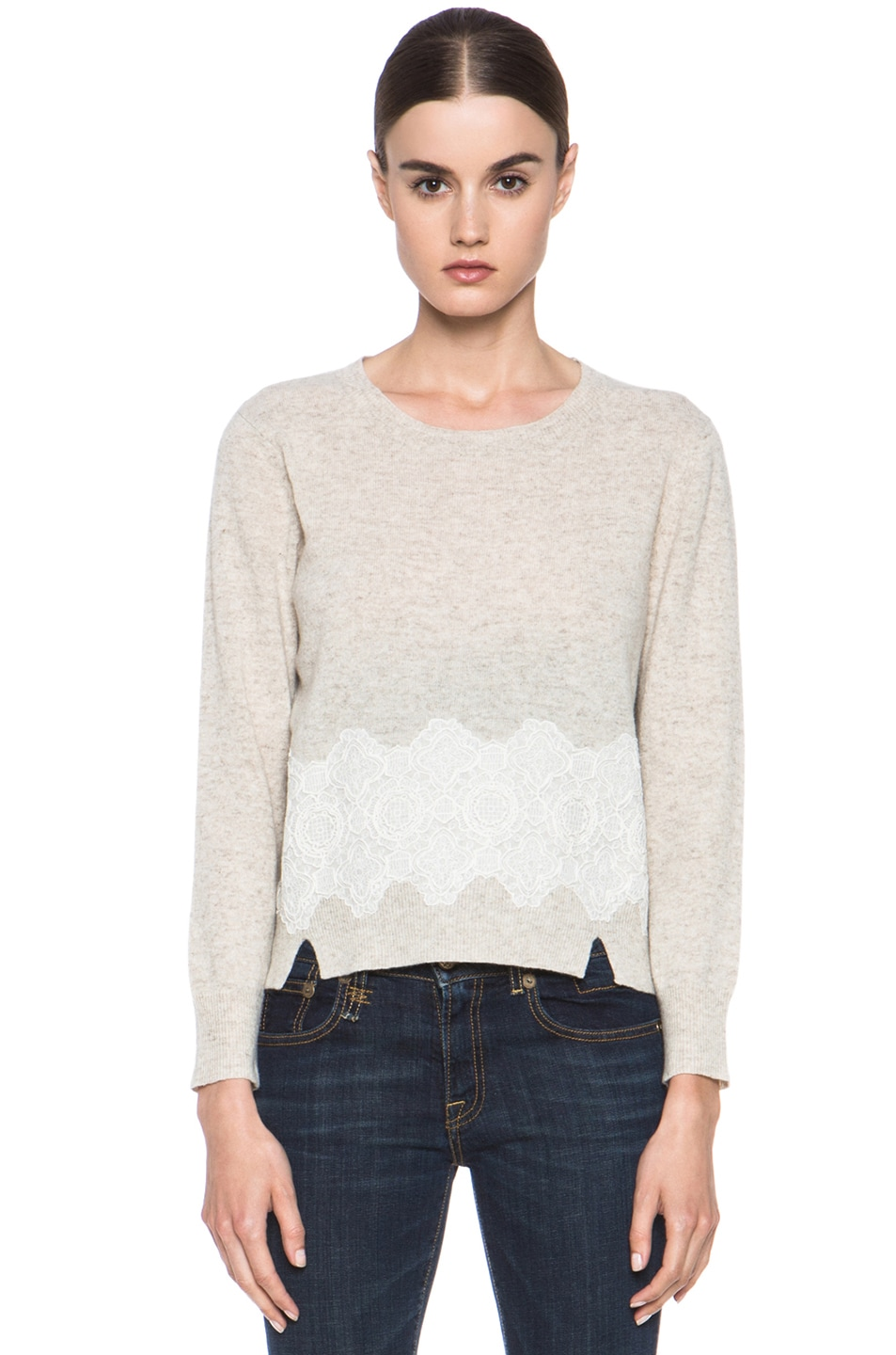 Image 1 of Girl. by Band of Outsiders Merino Wool Lace Pullover in Oatmeal