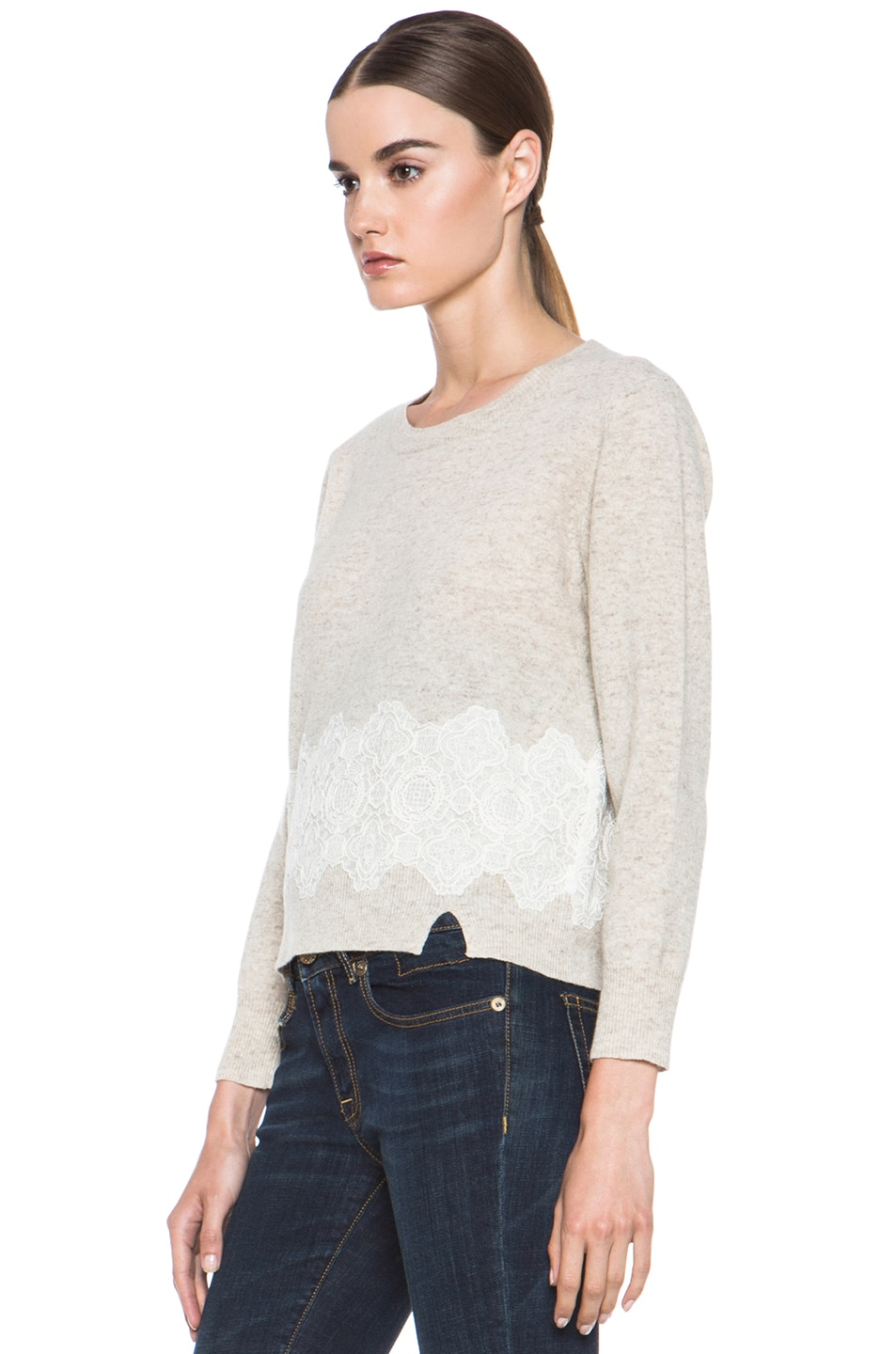 Image 2 of Girl. by Band of Outsiders Merino Wool Lace Pullover in Oatmeal