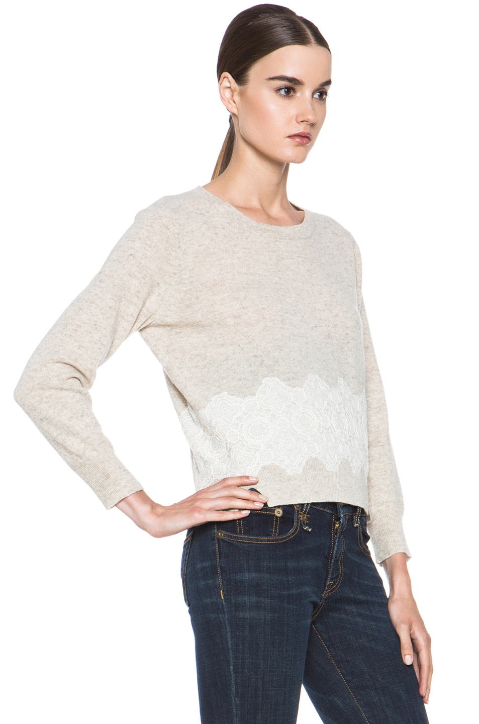 Image 3 of Girl. by Band of Outsiders Merino Wool Lace Pullover in Oatmeal