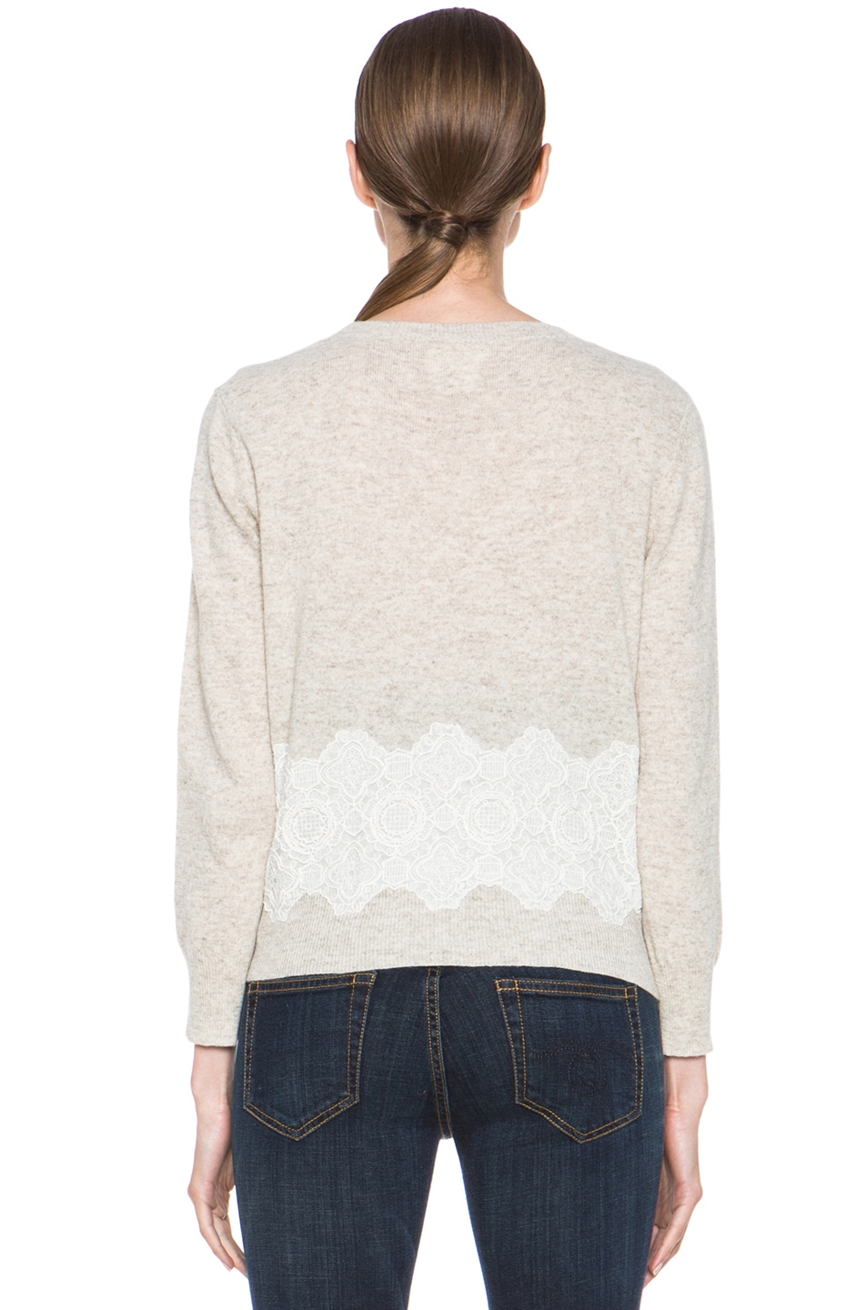 Image 4 of Girl. by Band of Outsiders Merino Wool Lace Pullover in Oatmeal