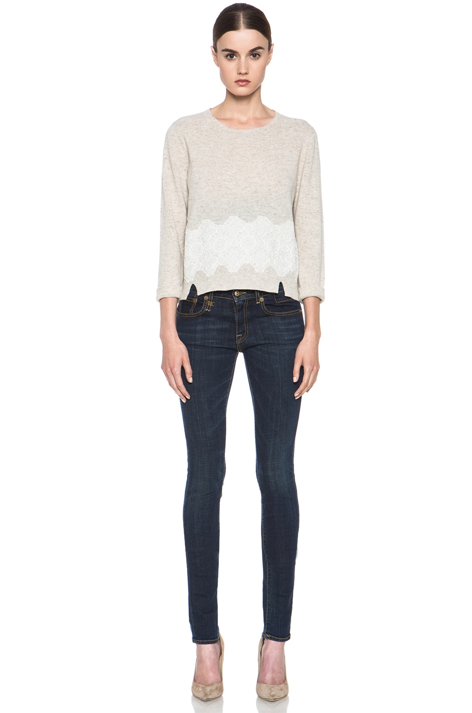 Image 5 of Girl. by Band of Outsiders Merino Wool Lace Pullover in Oatmeal
