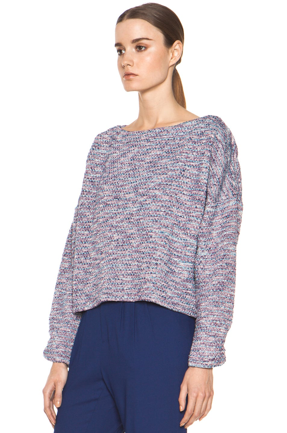 Image 3 of Girl. by Band of Outsiders Knit Tweed Sweater in Multi