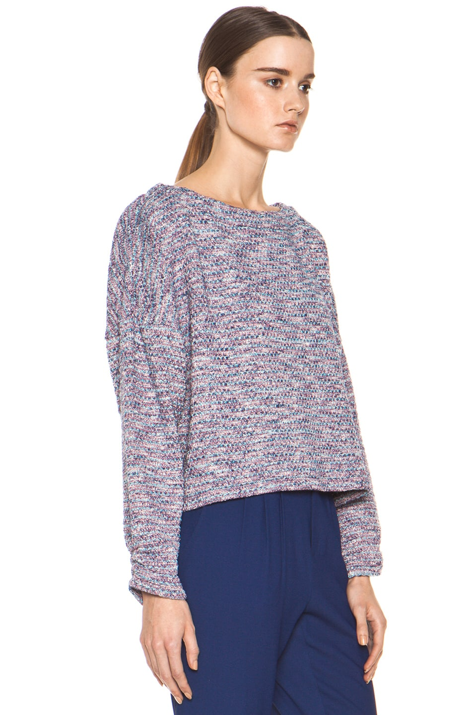 Image 4 of Girl. by Band of Outsiders Knit Tweed Sweater in Multi