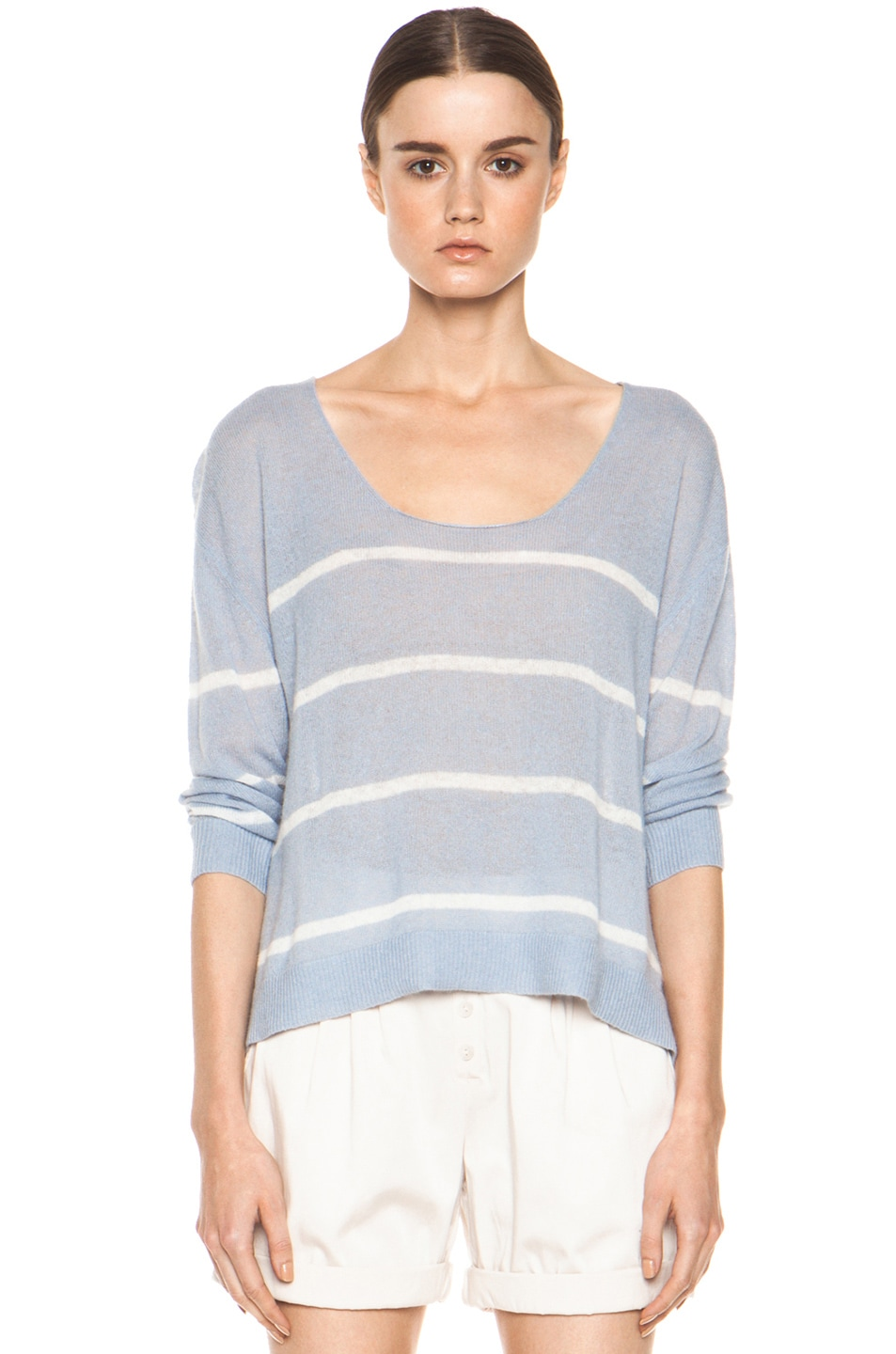 Image 1 of Girl. by Band of Outsiders Plush Pullover in Pearl Blue