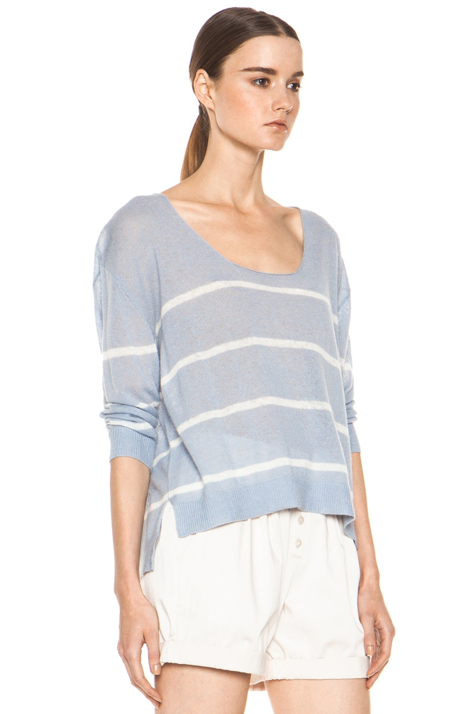 Image 3 of Girl. by Band of Outsiders Plush Pullover in Pearl Blue