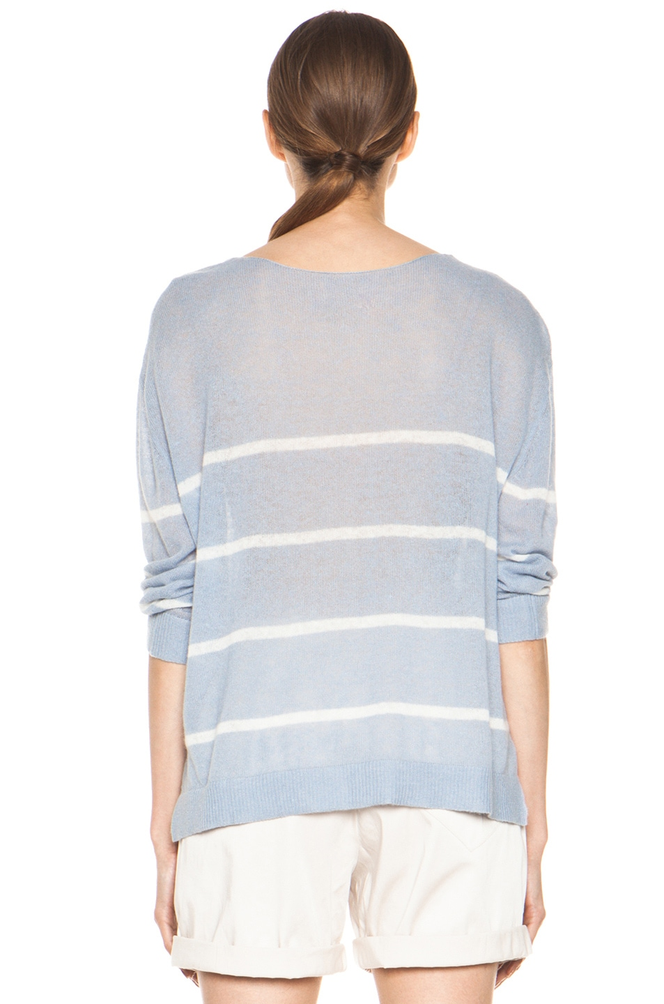 Image 4 of Girl. by Band of Outsiders Plush Pullover in Pearl Blue